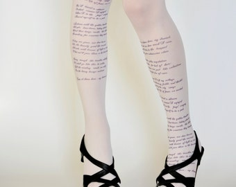 Poem  Text Tights , Poetry Trendy Leggings , Text Tights , Words Print Stockings