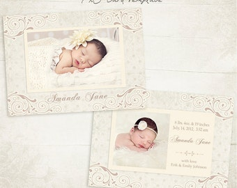 Birth Announcement Template - 7x5 Photo Card - Sweet Baby 06 - ID062, Instant Download