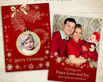 Christmas Card Template -  5x7 photo card template - for photographers and personal use - 012 - ID045, INSTANT DOWNLOAD