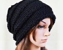 Slouchy beanie - BLACK (Or Choose Color) - ribbed style - slouch - chunky handmade hat - Unisex men women