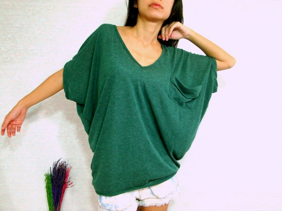 Green Oversized Blouse - Peach Chevron Blouse