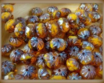 Czech Beads, 6x9mm Cruller, Czech Glass Beads - Caramelized Orange Bead (CR9/N-0446) - Qty 12