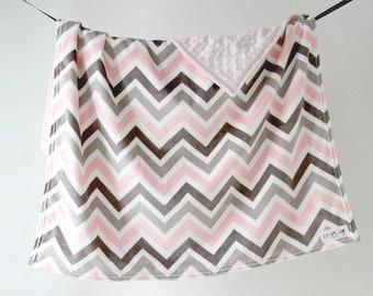 Baby Blanket, Pink Chevron with Pink Dot Minky, Ready to Ship