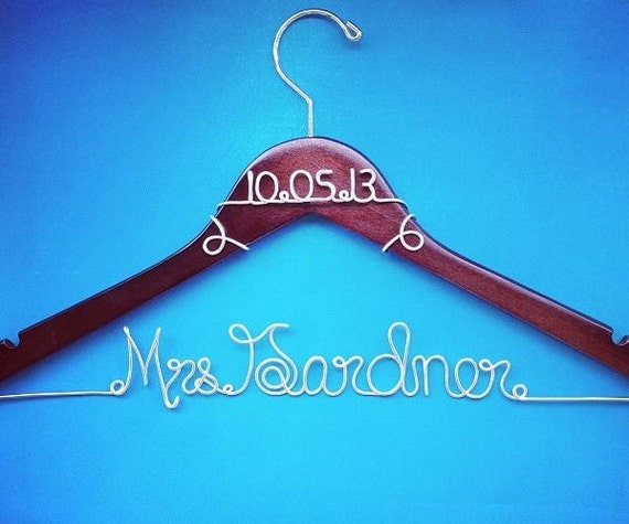 Personalized custom wire wedding hanger by goodlookinghangers for Personalized wire wedding dress hanger