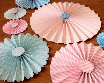 "Set of 7 Large 12""/ 9""/ 6"" Paper Rosettes/Fans - Shades of Pink, Aqua and Turquoise"