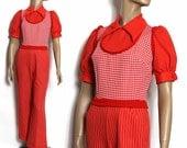 Vintage 1960s One-Piece Pants Jumpsuit Top Designer Rockabilly Garden Party Mad Man Couture Femme Fatale Hourglass Wiggle