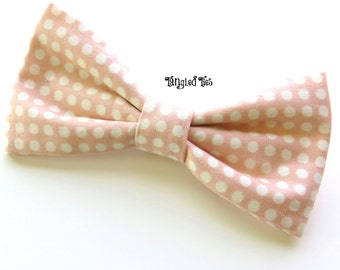 Blush Bow Tie, Peach/Pink With White/Cream Polka Dots - Any Size