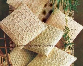 Aran Cushion Covers Knitting Pattern in 6 designs - PDF knitting pattern