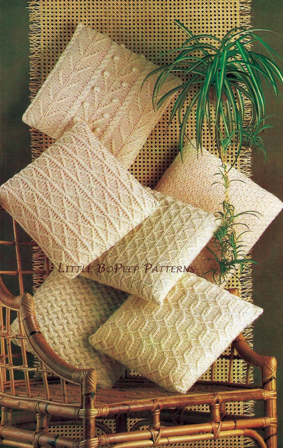 Aran Cushion Covers Knitting Pattern in 6 designs PDF