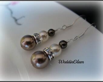 Pearl Bridal Earrings, Simple Wedding Earrings, Dark Brown Champagne Pearl Earrings, Wedding Jewelry, Ivory Brown Bridesmaid Earrings