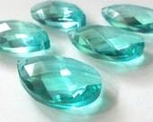 10 Chandelier Crystals Diamond Cut Antique Green Teardrop Chandelier Crystal Prisms Aqua Aquamarine