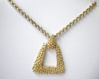Vintage TRIFARI Bold Stippled Gold Bead Geometric Triangle Necklace