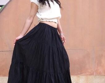 Long Skirt..Long Boho Skirt ....Long Maxi Skirt ..Full Length Skirt...Color Black