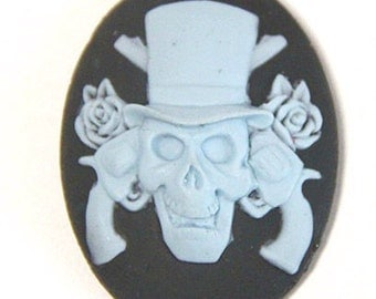 12 pcs of resin skull cameo 30x40mm-RC0157-blue on black