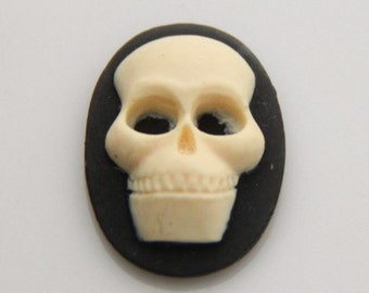 12 pcs of resin skull cameo-18x25mm-RC0168-cream on black
