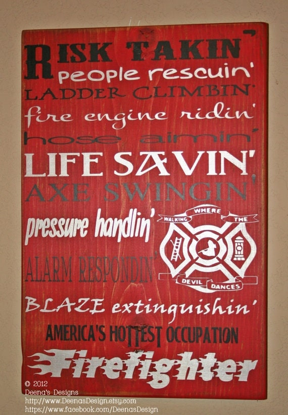 Firefighter Sign, Firefighter Sign, Custom Wood Sign, Firefighter, Risk Takin Firefighter, Firefighter Gift - America's Hottest Occupation