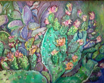 Southwestern Art- Original Landscape Oil Painting With Blooming Cactus - Cactus Flower - succulents - Desert