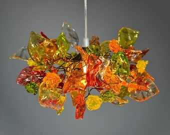 "Light Fixtures Ceiling warm color flowers and leaves, ""iber"" hanging chandelier for hall, bathroom."