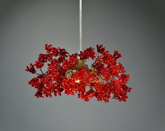 Ceiling lighting Red color jumping  flowers , Romantic hanging pendant light for hall, bedroom.