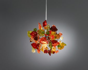 Ceiling light fixture with warm color flowers and leaves, unique pendant light for hall, bathroom or bedroom.