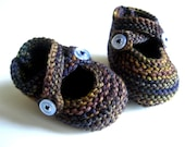 Purple Baby Booties -hand knitted merino baby shoes