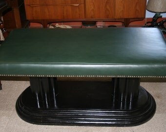 50% OFF Re Purposed Modern Green Leather Bench Ottoman Coffee Table Unique