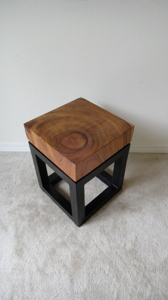 Rustic Modern Slab Wood End Side Table