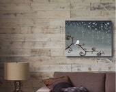 Original Abstract Painting of a Sparrow in the Rain-  16x20 Gallery Canvas by Little Sparrow Gallery
