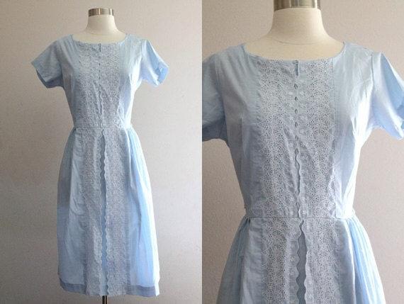 1950s Blue Lace Dress Vintage 50s Baby Blue & White Eyelet