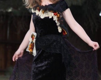 Upcycled Clothing / Steampunk Prom  / Goth Prom / Black Velvet tattered lace / Black Fairy Dress / Small / Large