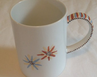 White Mug with Hand Painted Flowers, Dashes, and Dots