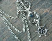 ONE nautical mermaid ear cuff chained earring  mermaid siren anchor ship wheel in boho gypsy hippie hipster  beach  resort and fantasy style
