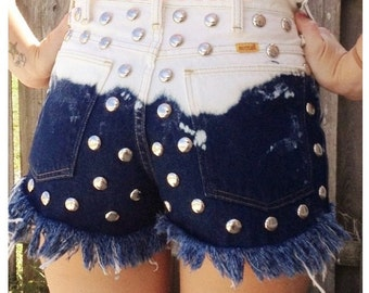 high waisted denim shorts studded ombre shorts denim shorts