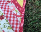 Country Crib Quilt with all the colors of a Warm Fall / Autumn Red and Yellow Apple Picking Stroll with your baby girl
