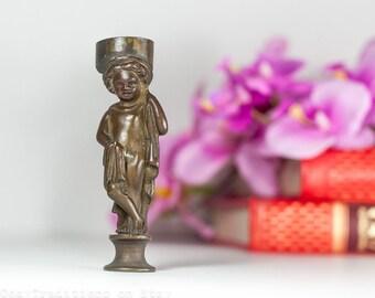 Antique Bronze Statue Wax Seal: Rare 19th Century Neoclassical Figurative Stamp, Bronze Sculpture Figurine Wax Seal