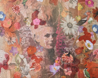 Marie Antoinette painting: It used to be so nice. Queen, France, Collage, Decoupage, Interior, House, Design, Flowers, butterflies, Insects