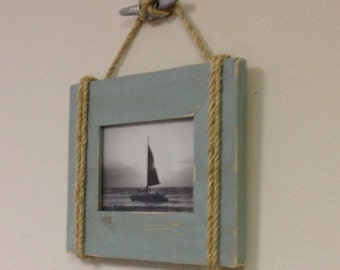 Shabby Chic Nautical Beach cottage 5X7 Rope Boat cleat Picture Frame in Distressed Watery