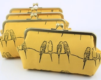Yellow Parakeets Bridesmaids Clutches / Yellow Wedding Clutches / Gift for Wedding Party - Set of 4
