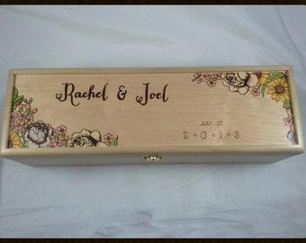 Wedding Invitation Wine Box - Wood Burned and Made to order