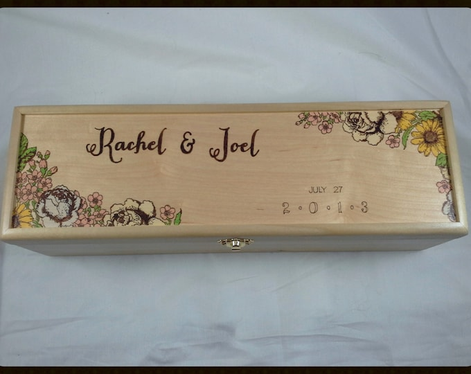 Wedding Invitation Wine Box - Wood Burned and Made to order
