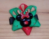 Minnie Mouse inspired reindeer Hair Clip - hair bow barrette clippie - great stocking stuffer