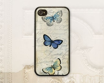 Butterfly phone case, iPhone 4 4S 5 5s 5C 6 6+ Plus, Samsung Galaxy s3 s4 s5 s6 Shabby chic, Vintage Blue butterflies phone cover, V1065