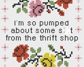 Macklemore 'Thrift Shop' Cross Stitch Sampler Digital Pattern