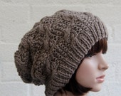 Chunky knit cable beanie in Walnut/Slouchy Beanie/Knitted hat/Beanie hat
