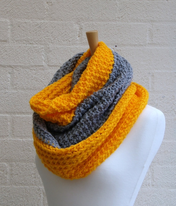 Chunky Knit Grey and Yellow infinity scarf, cowl, snood, chunky knit winter scarf