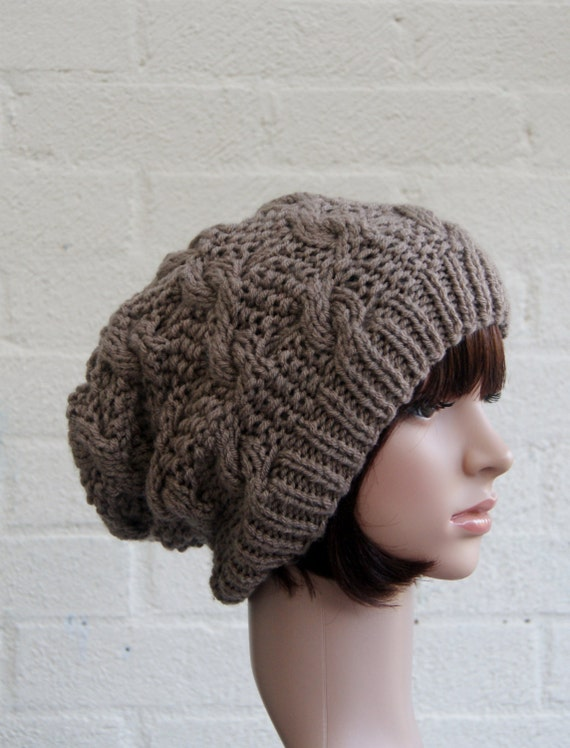 Chunky knit cable beanie in Walnut/Slouchy Beanie/Knitted
