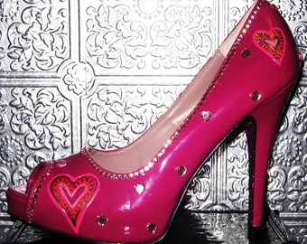 valentine's day  heel shoes with hearts and glittered soles