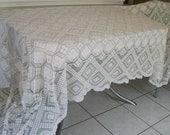 Vintage White Knit Cotton Tablecloth Large Banquet 113 x 53 Rectangle