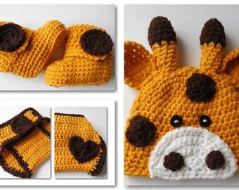 Giraffe Baby Crochet Set -  Baby Beanie - Diaper Cover - Booties - Set - Handmade Crochet - Animal Baby Set - Made to Order