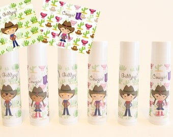 Cowboy Party Favors - Cowgirl Party Favors - Wester Theme - Kids Round Up - Custom Lip Balm - Set of 6 - Free Customization